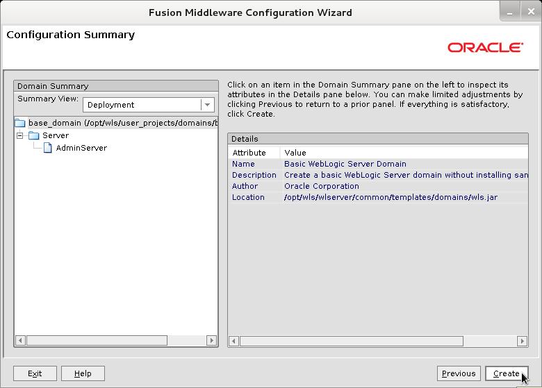 Bea WebLogic 12c Create Domain Wizard - Configuration Summary