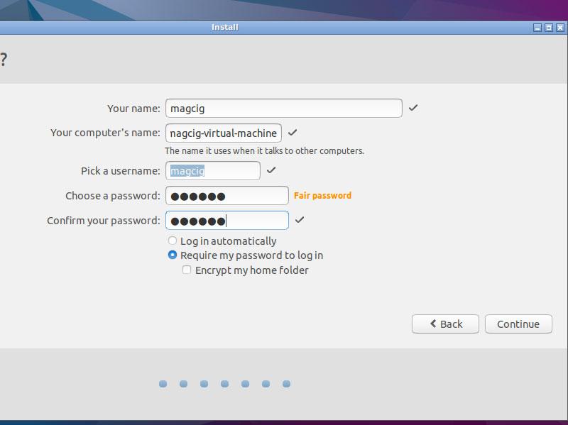 Lubuntu 16.04 Paralles Virtual Machine Installation - User SetUp