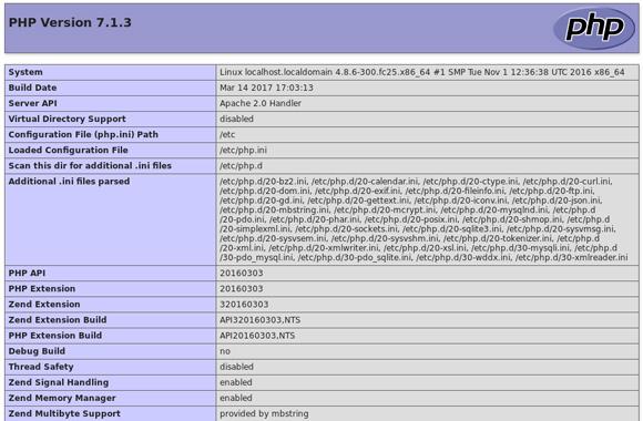 LAMP Installation on Fedora PHP Info