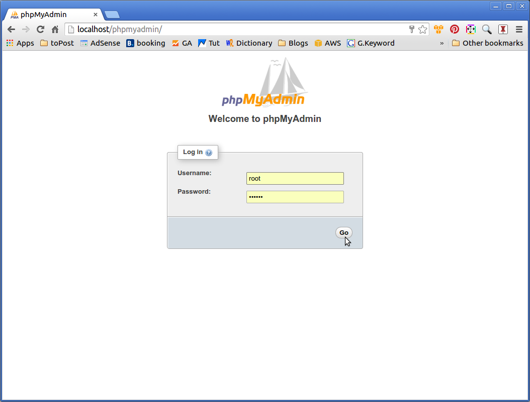 Phpmyadmin Quick Start Elementary OS - Login