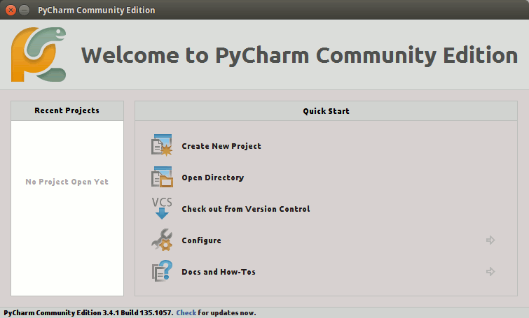 CentOS PyCharm Hello-World Getting Started Guide - PyCharm Create New Project