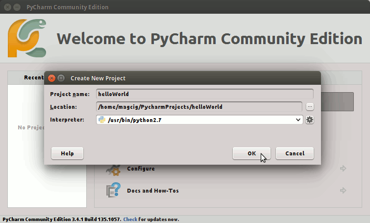 CentOS PyCharm Hello-World Getting Started Guide - PyCharm Project Naming