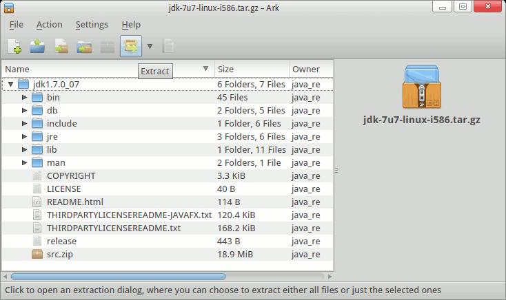 Java JDK 7 tar.gz Extraction Path