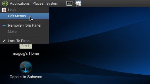 Linux Sabayon 11 Mate Edit Main Menu