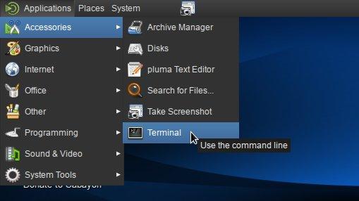 Linux Sabayon 11 Mate Open Terminal