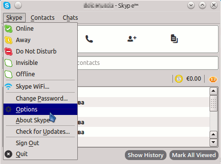 Skype Quick Start on Lubuntu Linux - Options