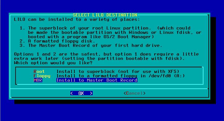 How to Install Slackware 14.2 Dual Boot Windows 10 - LILO Destination