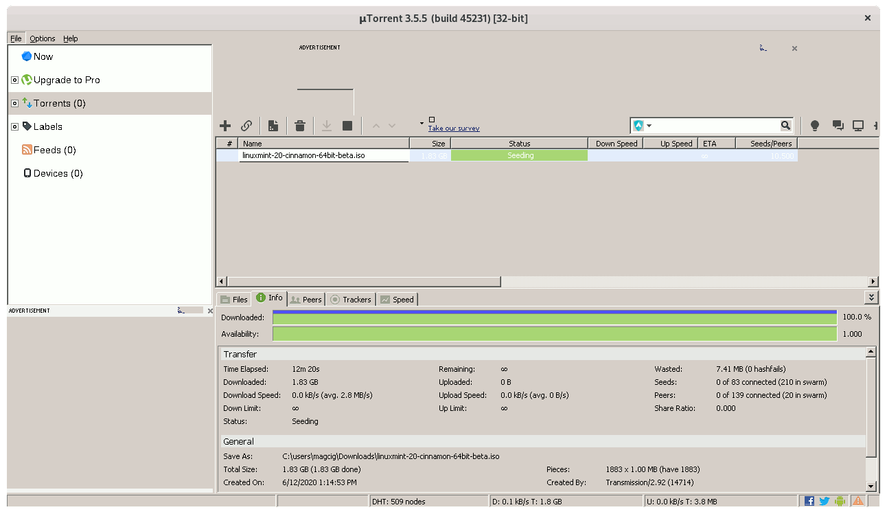 Step-by-step uTorrent for Windows Debian Buster Installation Guide - UI