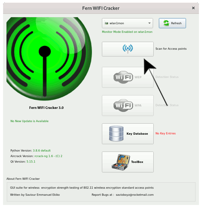 Fern Getting Started Guide on Kali - scan access points