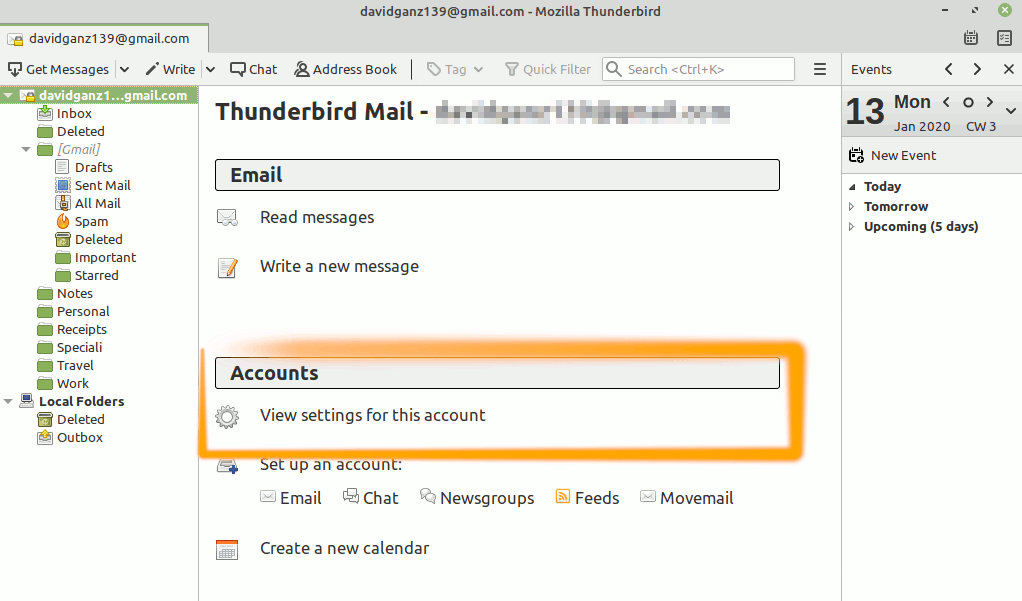 Ubuntu Thunderbird GMail Sending of Message Failed Solution - View Settings