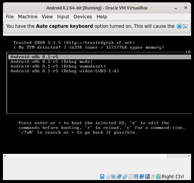 How to Install Android 8.1 VirtualBox Virtual Machine - Grub booting android x86 on VirtualBox