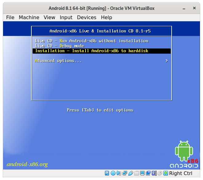 How to Install Android 8.1 VirtualBox Virtual Machine - select install android