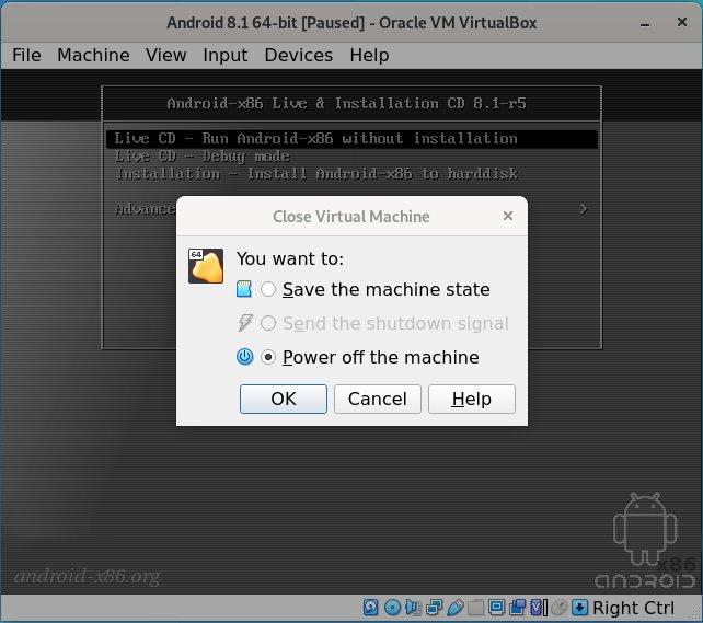 How to Install Android 8.1 VirtualBox Virtual Machine - shutting down