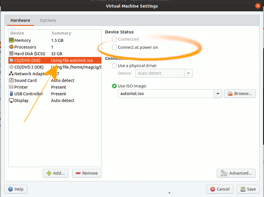 VMware Workstation VM problem occurred on line 31 of the kickstart file: Section %package does not end with %end Solution - Disconnecting Autoinst ISO