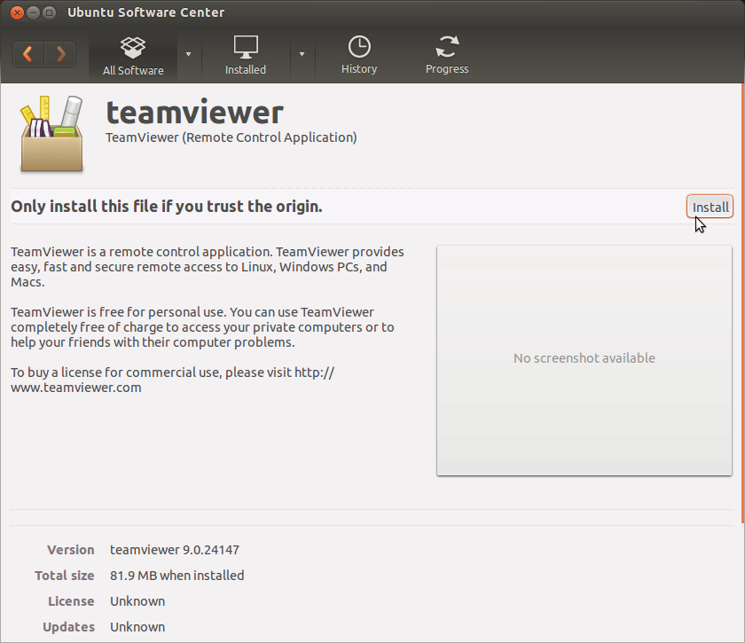 Install TeamViewer for Ubuntu 15.10 Wily - Installing by Package Manager 1