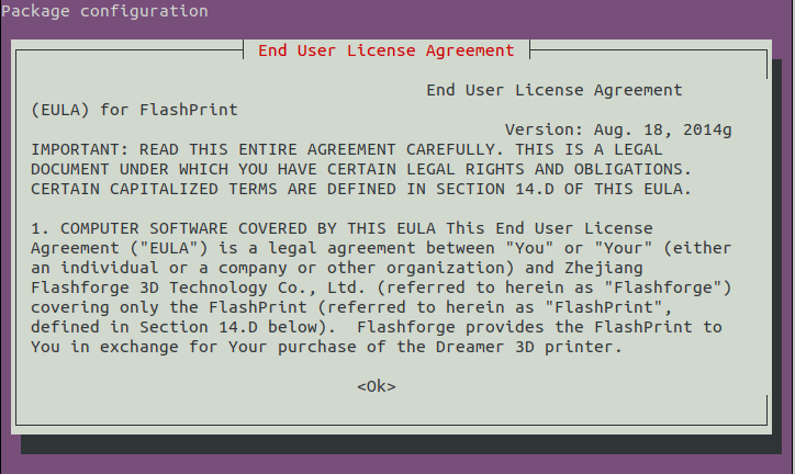 How to Install FlashPrint in Linux Mint 20 LTS - EULA