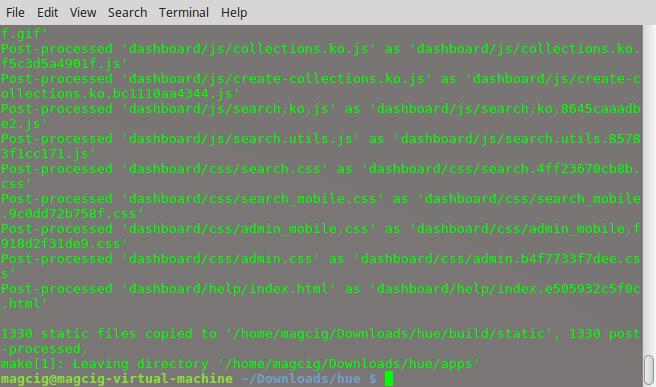 Hue Quick Start on Ubuntu 16.04 LTS - Hue Installation Terminal Success