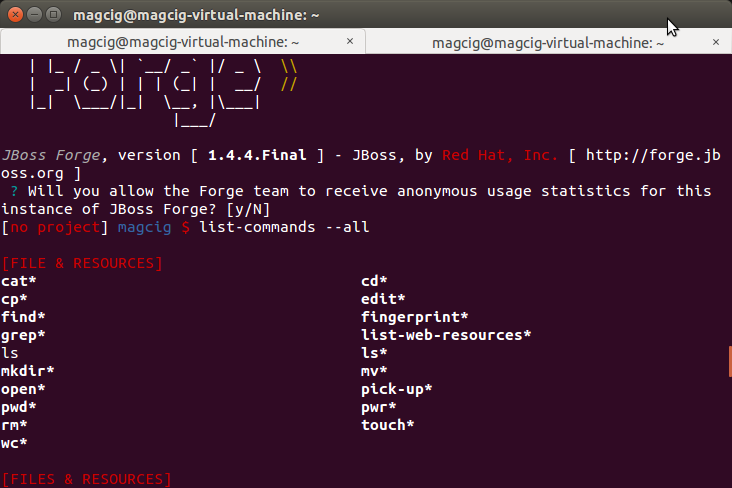 Quick-Start JBoss Forge Ubuntu Linux - JBoss Forge on Terminal