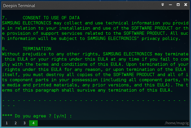Installing Samsung Printers Driver on Ubuntu 14.04 Trusty LTS - Accept License