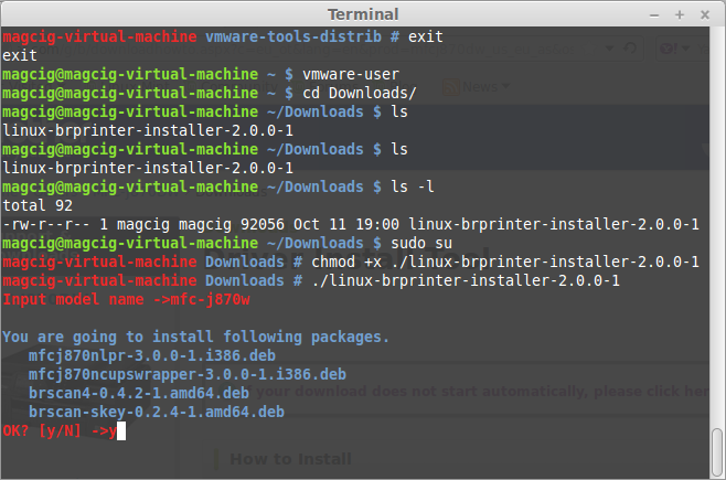 Linux Debian UnstableInstall Brother Printer Drivers - Terminal