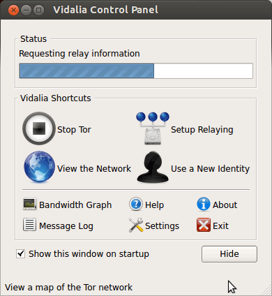 Linux Tor Browser Getting-Started Guide - Starting Tor Vidalia Control Center