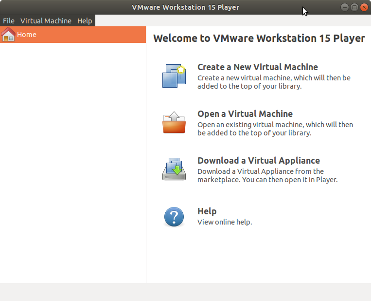Archman Linux Install VMware Workstation 15 Player - VMware Workstation Player 15 GUI