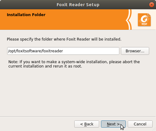 How to Install Foxit Reader on Kubuntu 14.04 Trusty - Installation Folder