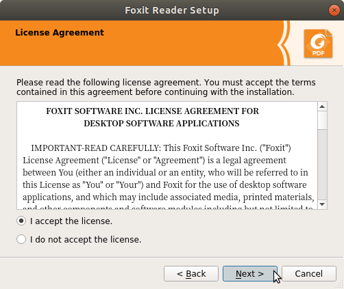 How to Install Foxit Reader on Kubuntu 14.04 Trusty - License
