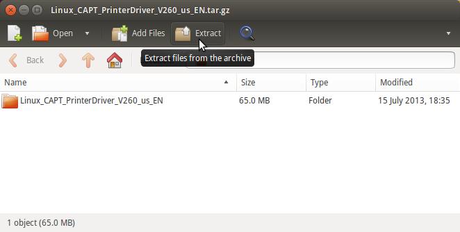 Install Canon imageCLASS LBP6030w Driver Ubuntu - Extract
