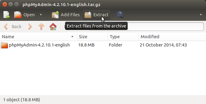phpMyAdmin Quick Start on Elementary OS - Archive Extraction