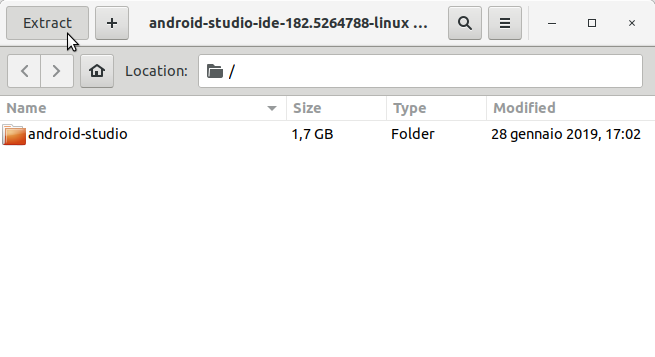 Android Studio IDE Quick Start for Ubuntu 14.04 Trusty LTS - extraction
