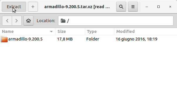 How to Install Armadillo on Fedora 29 - Extracting