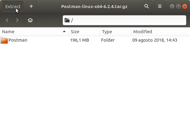 How to Install Postman on Fedora 29 GNU/Linux - Extracting