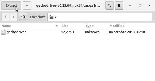 How to Install GeckoDriver on Fedora 28 - Extracting