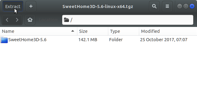 How to Install Sweet Home 3D on Antergos Linux - Extracting