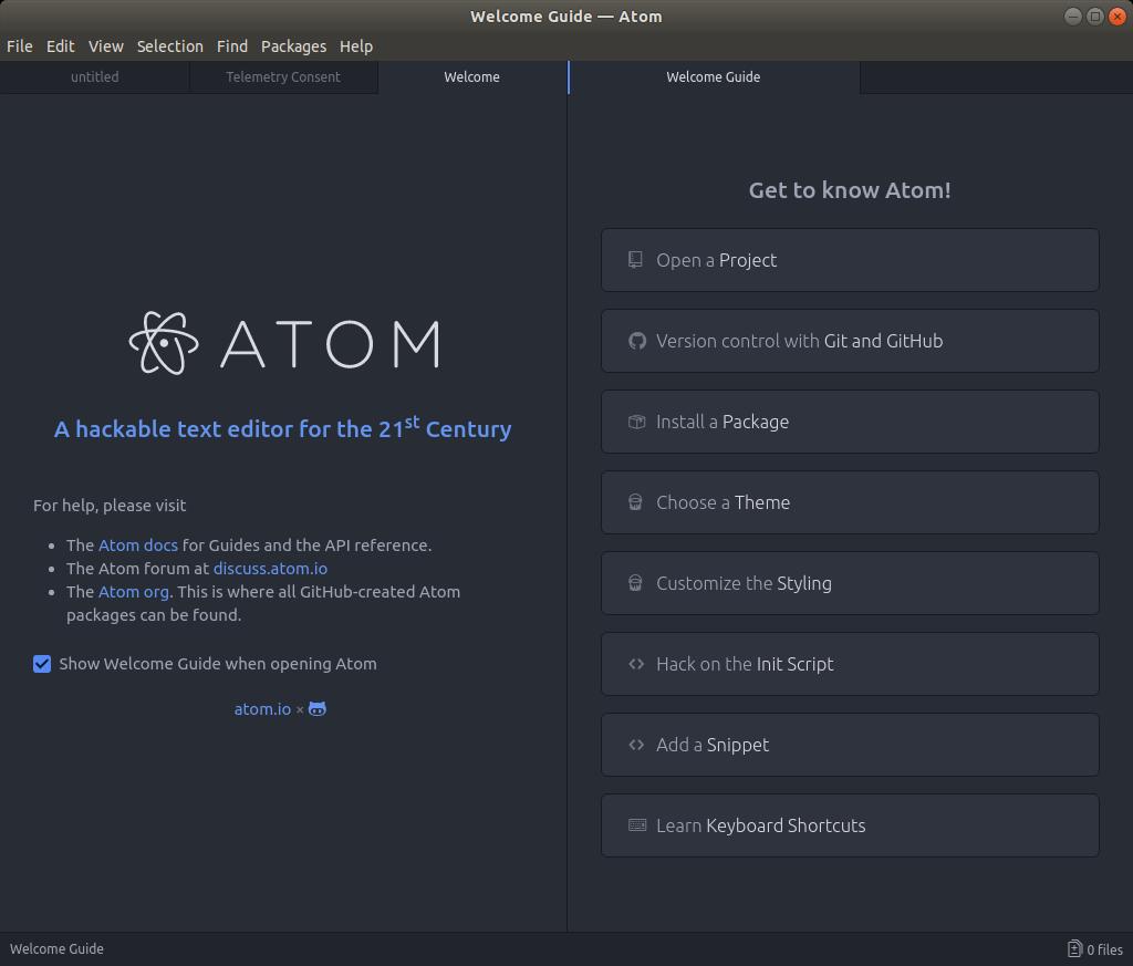 Atom Install Ubuntu 17.10 Artful - Atom GUI