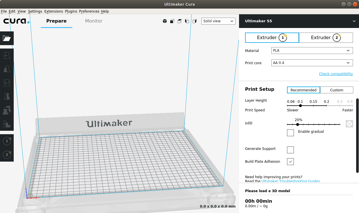 How to Install Cura on Ubuntu 16.04 Xenial LTS - UI