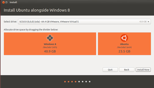 Install Ubuntu 16.04 Xenial on Top of Windows 8 - Allocating Drive Space
