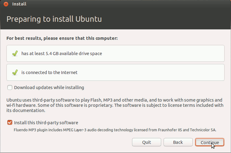 Ubuntu Linux Raring Preparing Installation to Hard Drive