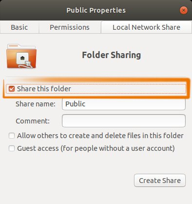 How to Enable Personal File Sharing in Ubuntu 18.04 Bionic - Select Share Folder