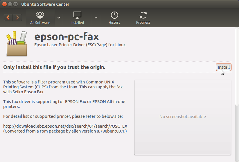 Ubuntu Epson WF-7520 / WF-7521 / WF-7525 Quick Start - Ubuntu Software Center