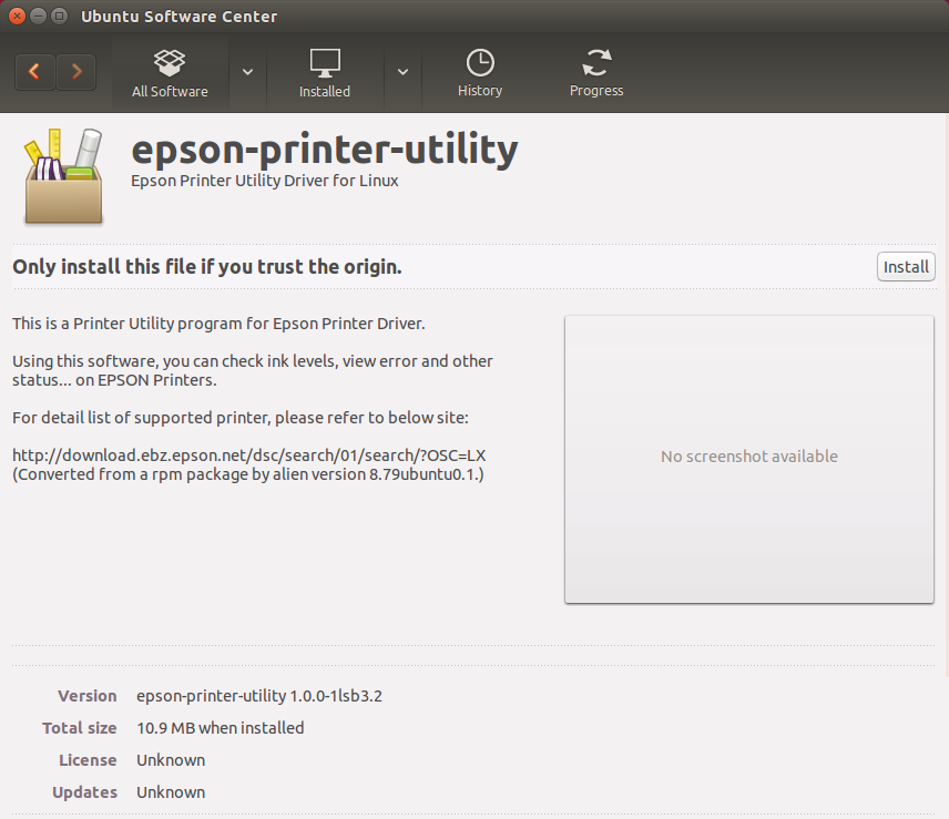 How to Install the Epson L810 Printer Driver and Software on Ubuntu - Ubuntu Software Center Installing Epson Printer Utility