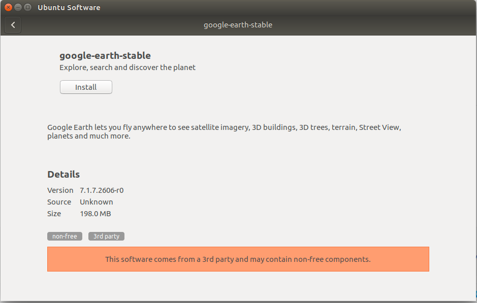 Installing Google Earth Pro for Ubuntu 17.04 Zesty - Ubuntu Software Center