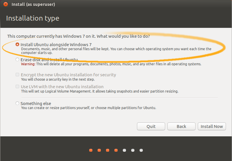 Installing Ubuntu 16.04 Xenial on Top of Windows 7 - Installing Linux Mint alongside Windows 7