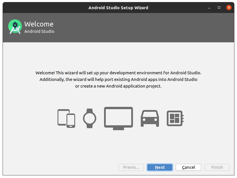 Installing Android Studio IDE on Linux - Wizard