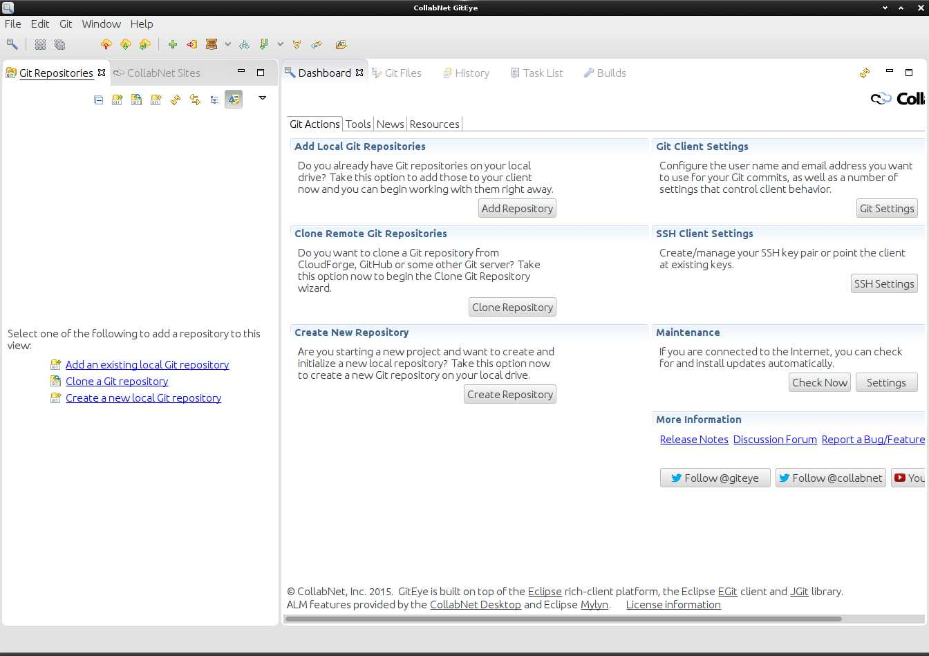 Installing GitEye for openSUSE Linux - UI