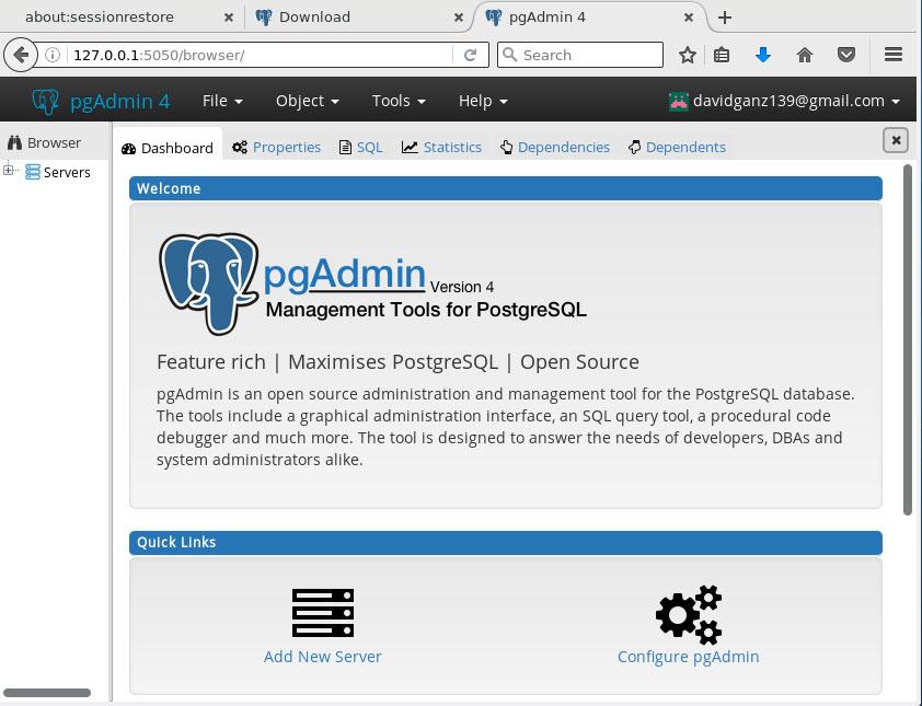 How to Install PostgreSQL 10 GUI for Fedora PgAdmin 4 - PgAdmin 4 Web Backend