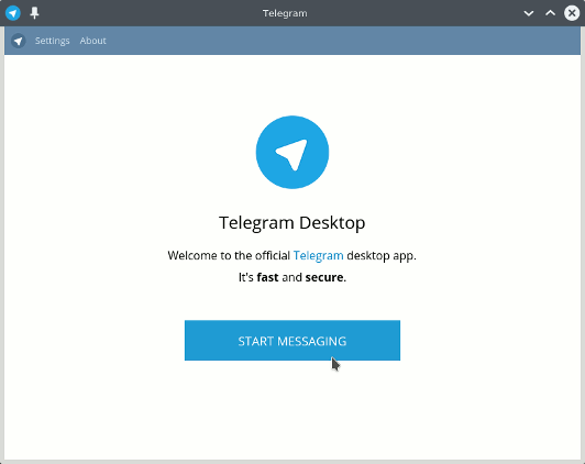 Telegram Messaging App Quick Start on Ubuntu Budgie - Welcome UI