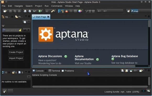 Linux Aptana Studio 3 GUI