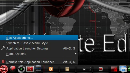 Linux Ultimate Edition KDE4 Edit Main Menu